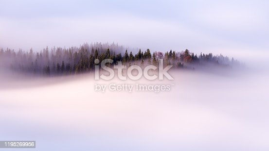 Slow moving clouds over the pine forest in the German alps - long exposure