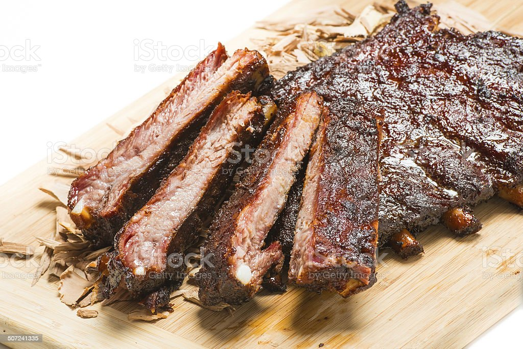 Slow Smoked Barbeque Pork Spareribs stock photo