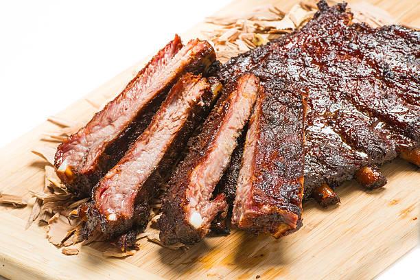 Slow Smoked Barbeque Pork Spareribs stock photo