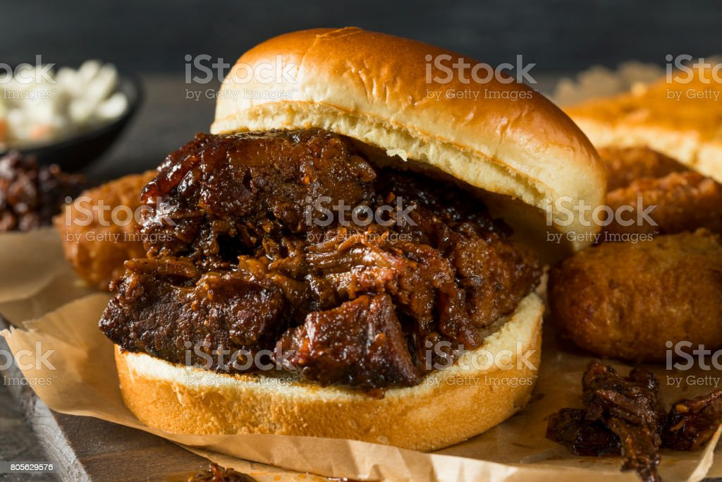 Slow Smoked Brisket Burnt Ends Sandwich stock photo