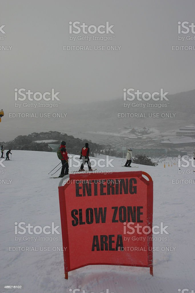 Slow Zone Sign at Perisher stock photo
