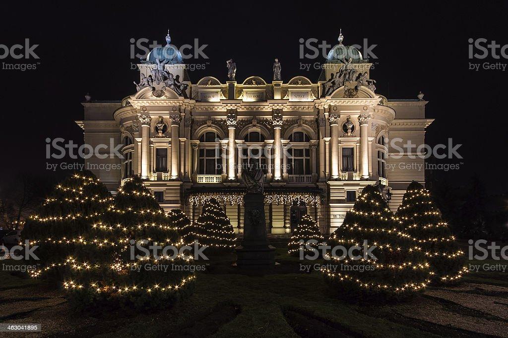 Slowacki theatre in Christmas time stock photo