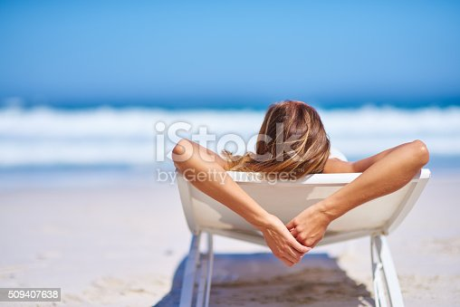 Rearview shot of a woman relaxing on a recliner at the beachhttp://195.154.178.81/DATA/i_collage/pi/shoots/806340.jpg