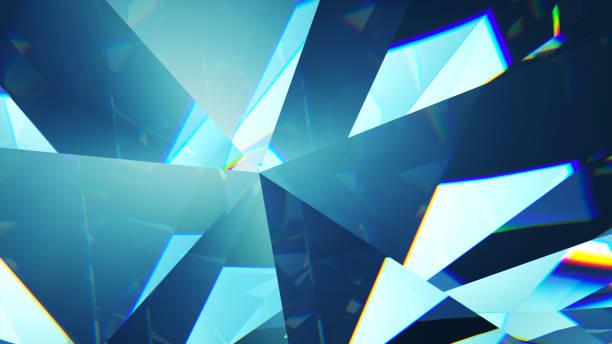 langzaam draaien diamant, close-up. mooie 3d illustratie - lichtbreking stockfoto's en -beelden