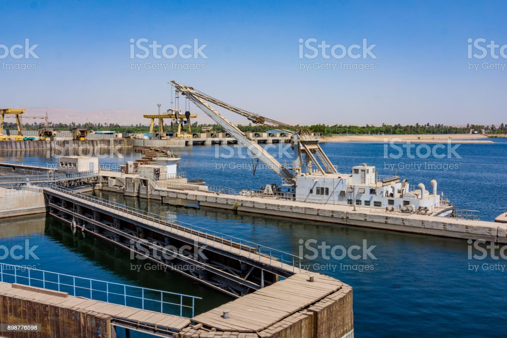 Sluice gate on the Nile river, Egypt stock photo
