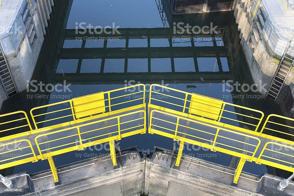 Sluice gate - view from above stock photo