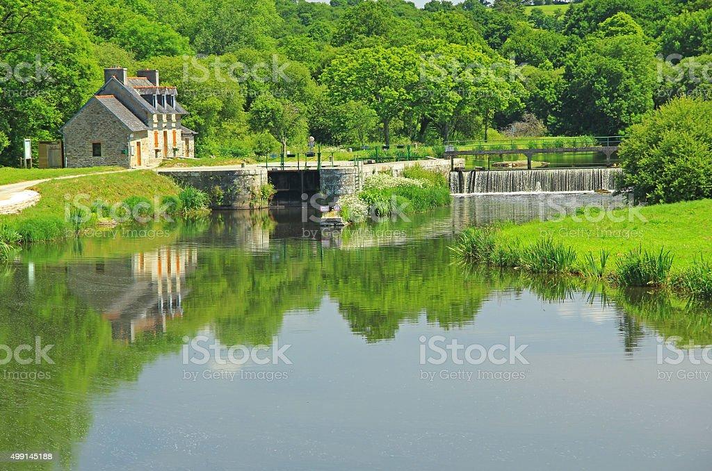 Sluice, Nantes-Brest canal, France stock photo