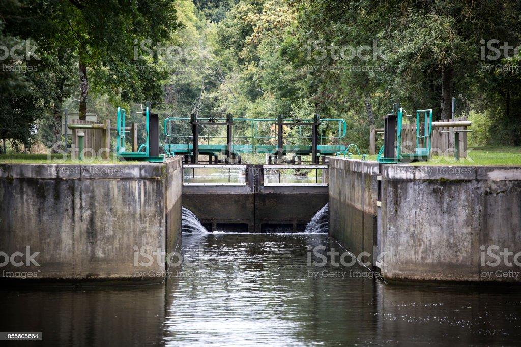 Sluice, water lock stock photo