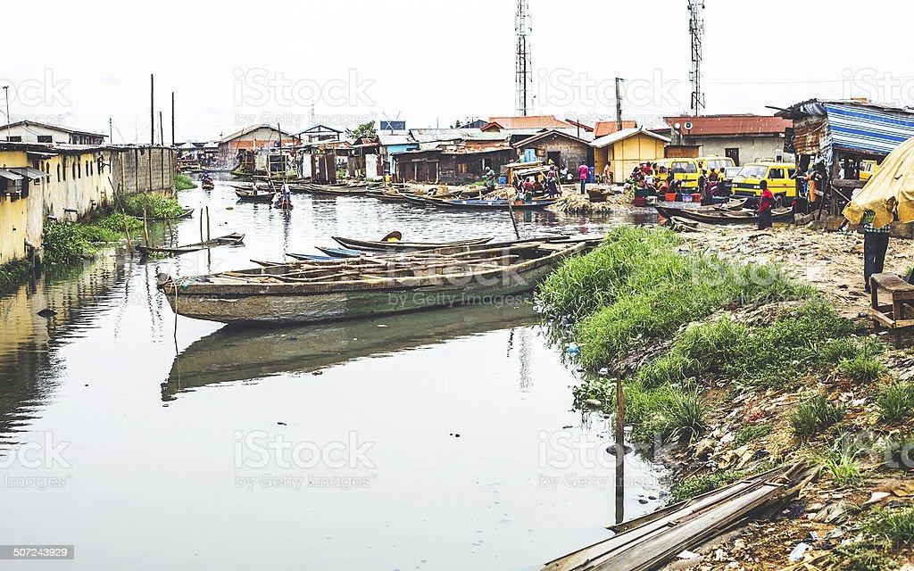 Slum in Lagos, Nigeria. stock photo