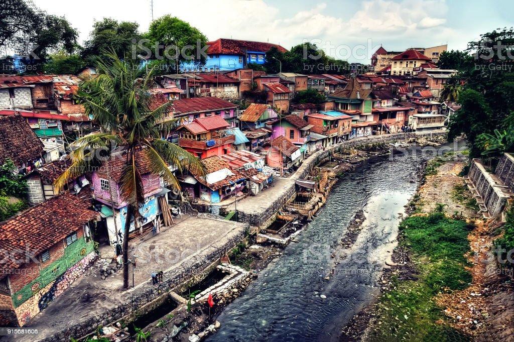Slum in Yogyakarta, Indonesia stock photo