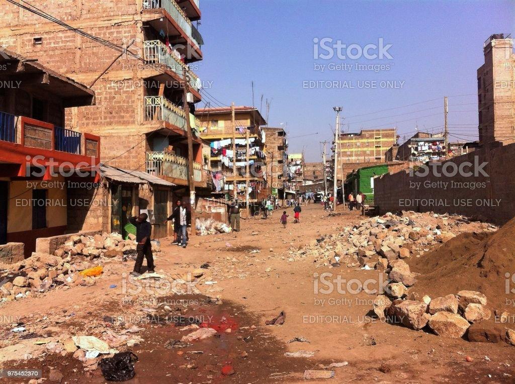Slum life in Nairobi, Kenya stock photo