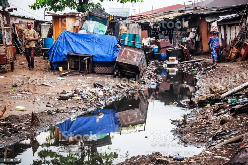 Slum life - Lagos, Nigeria stock photo