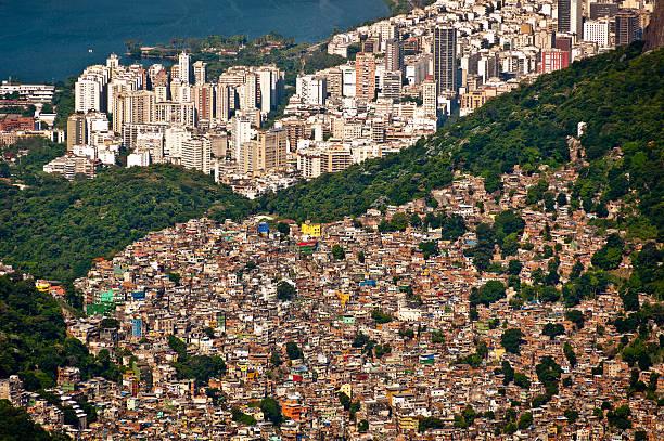 slum rocinha and aerial rio de janeiro - imbalance stock photos and pictures
