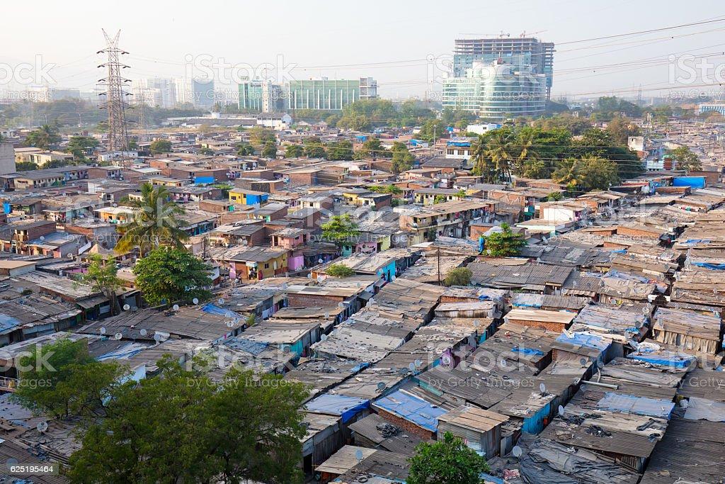 Slum Rooftops in Mumbai stock photo