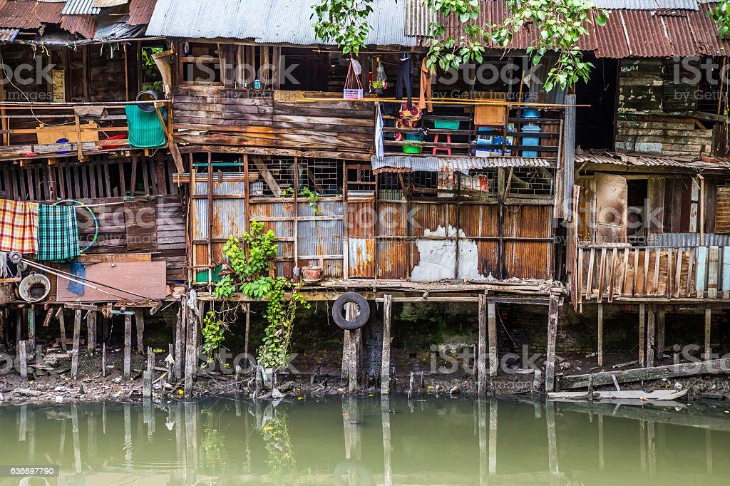 Slum shacks in central bangkok stock photo