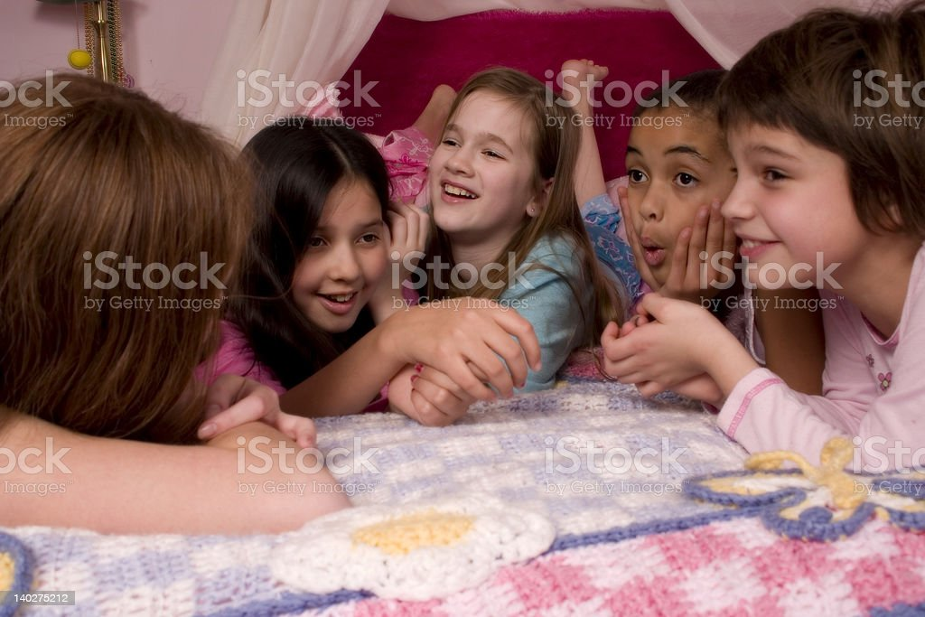 Slumber Party Giggles stock photo