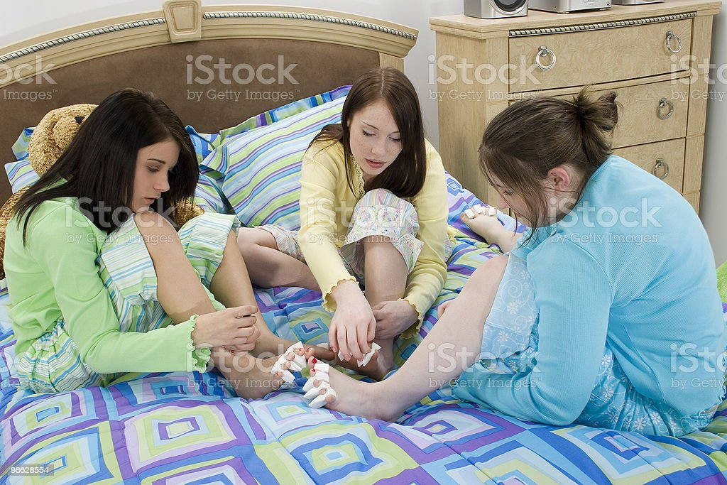 Slumber Party Pedicures royalty-free stock photo