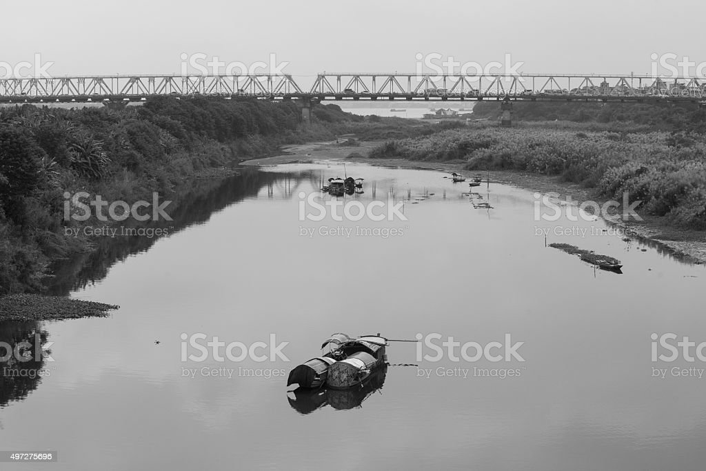 Slumdog are on the bank of Red river stock photo