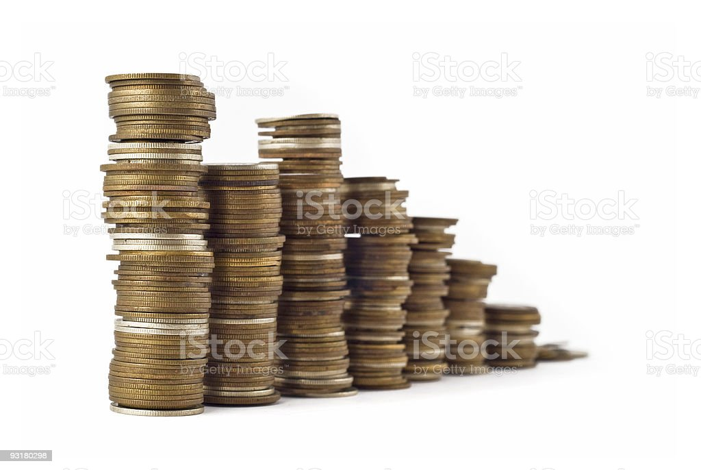 Slump or growth - towers assembled royalty-free stock photo