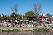 Slums Along the Bagmati River in Kathmandu Nepal a sign of the social issues of the country.