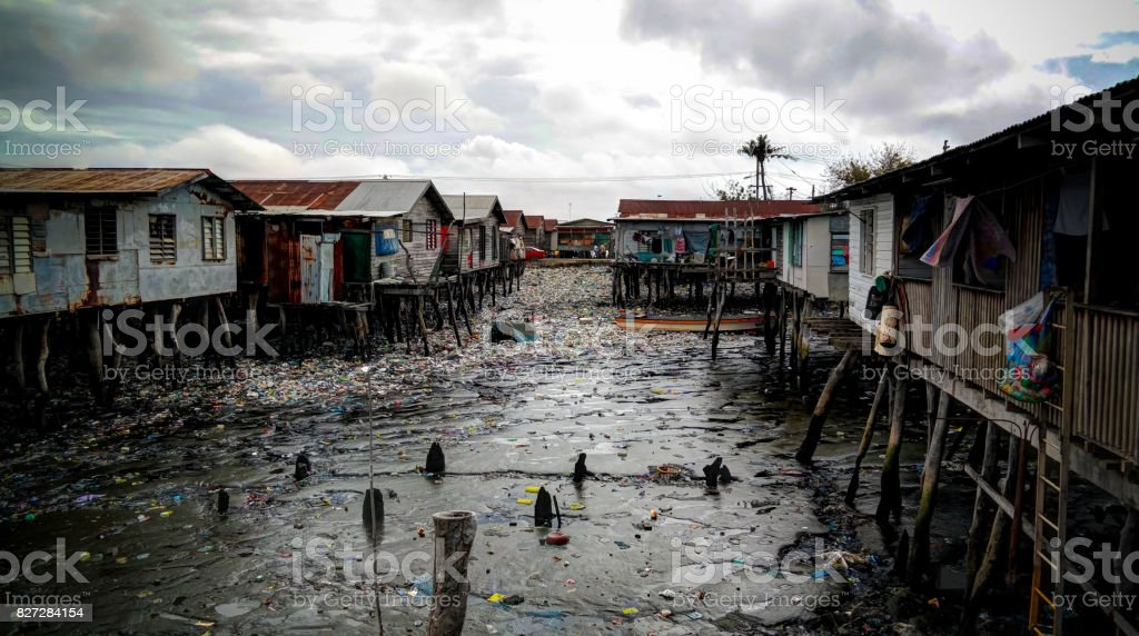 Slums at Hanuabada village at the outskirts of Port Moresby, Papua new Guinea stock photo