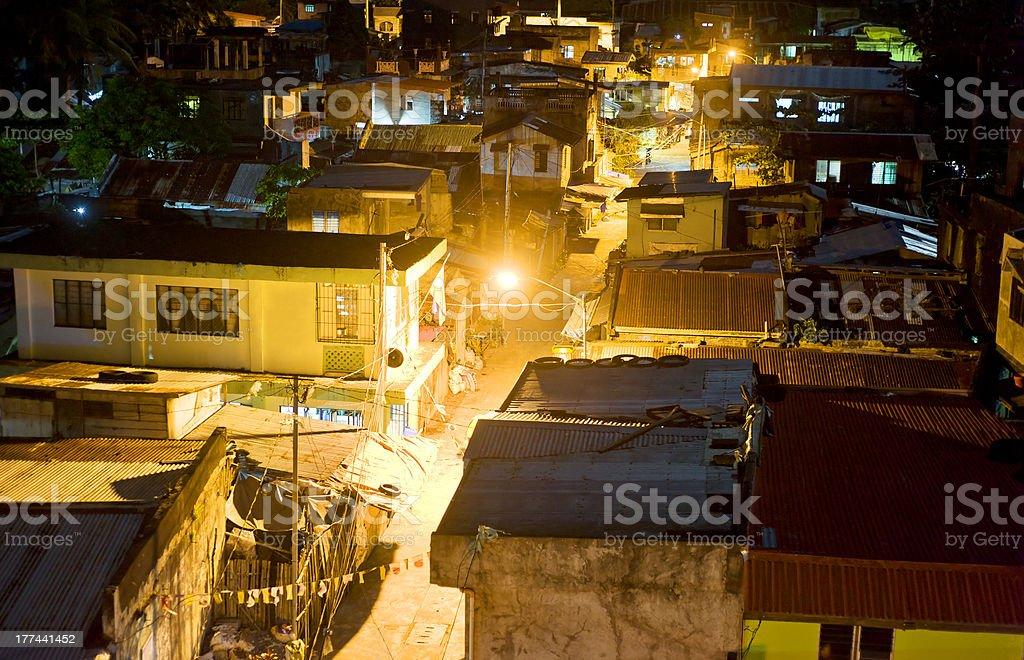Slums at night royalty-free stock photo