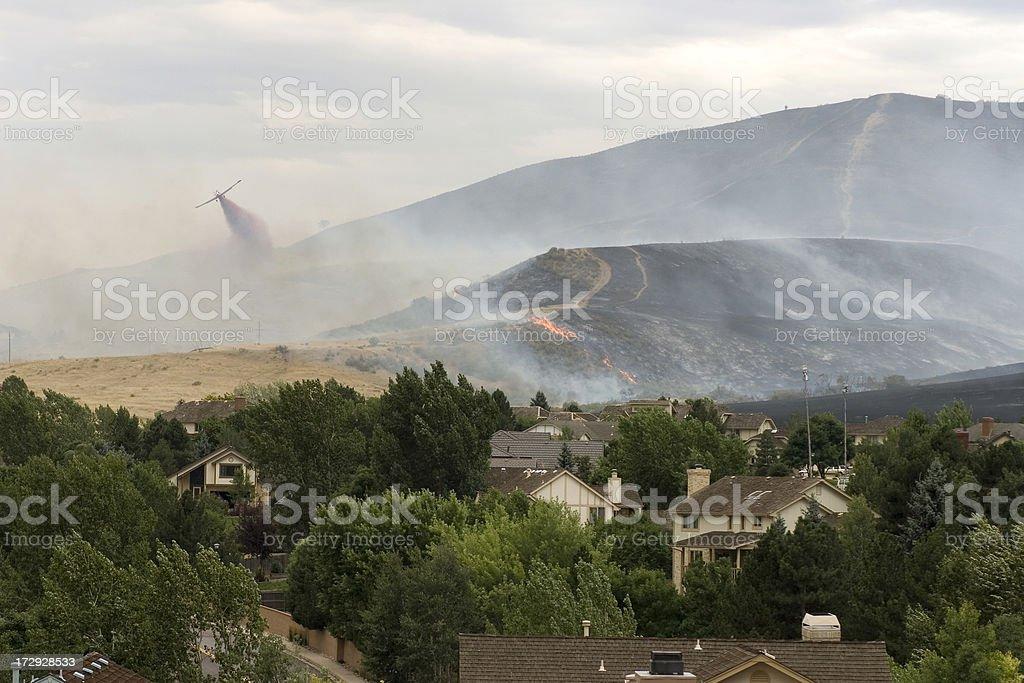 Slurry bomber over wildfire, Denver, Colorado stock photo