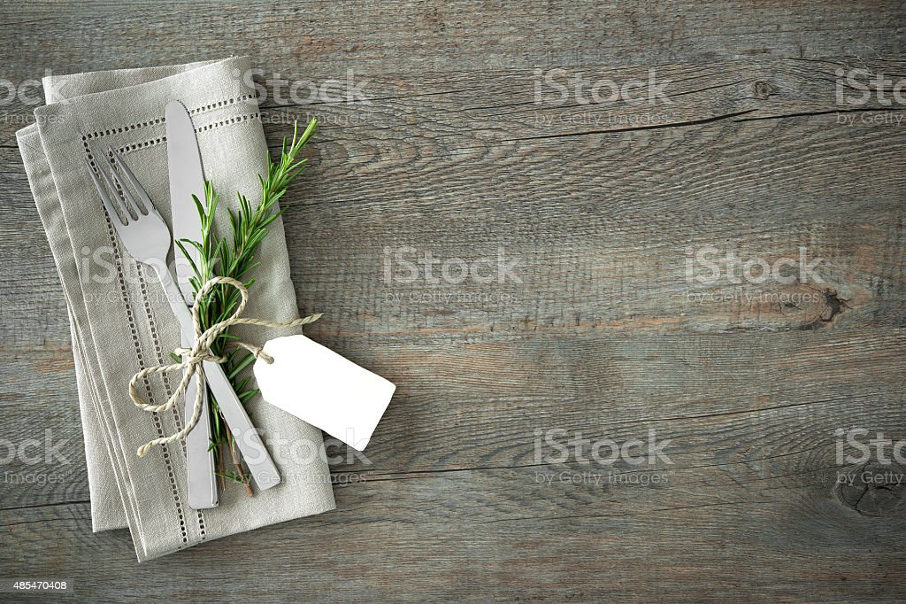 Slverware with an empty tag stock photo