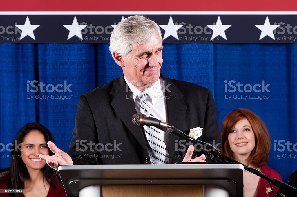 Sly Politician  at Podium stock photo