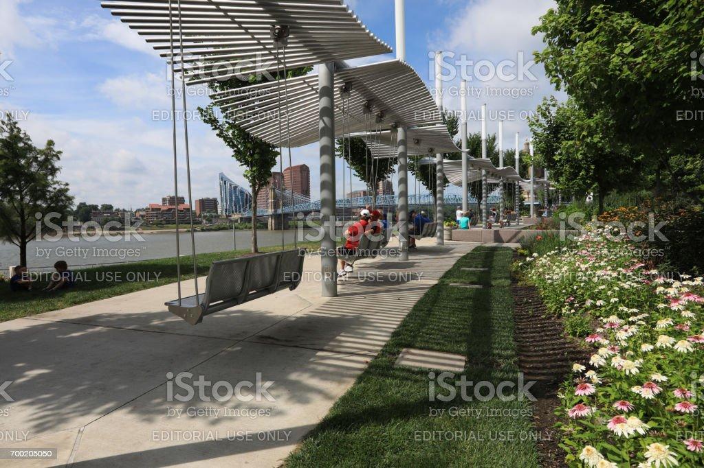 Smale Riverfront Park in Cincinnati, Ohio stock photo