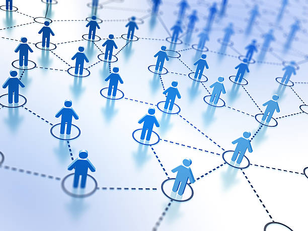 Small 3D characters illustrating social network stock photo