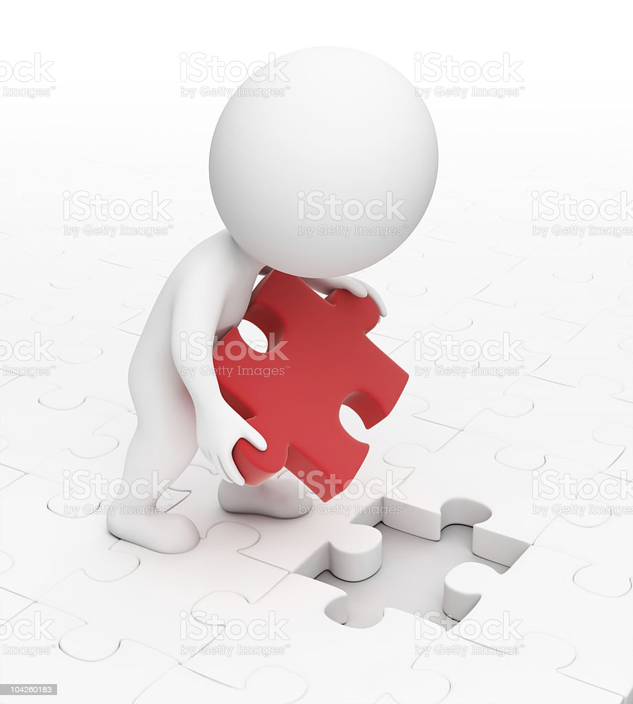 Small 3D humanoid putting red piece in a white puzzle space royalty-free stock photo