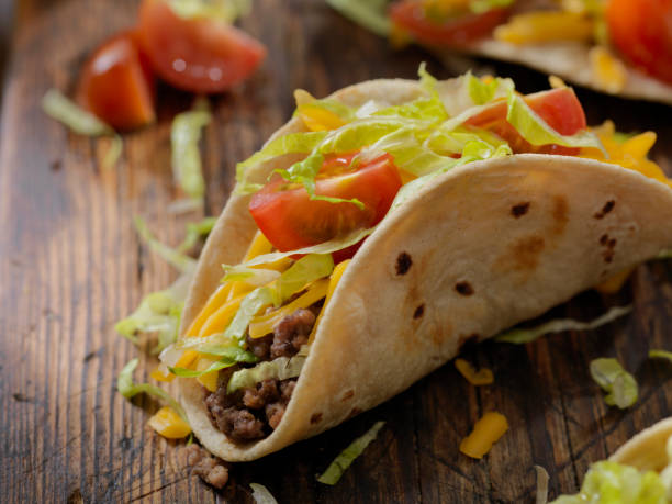 Small 4inch Soft Beef Tacos stock photo