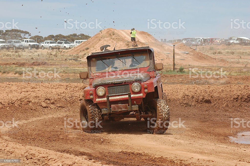 small 4x4 racing in offroad event stock photo
