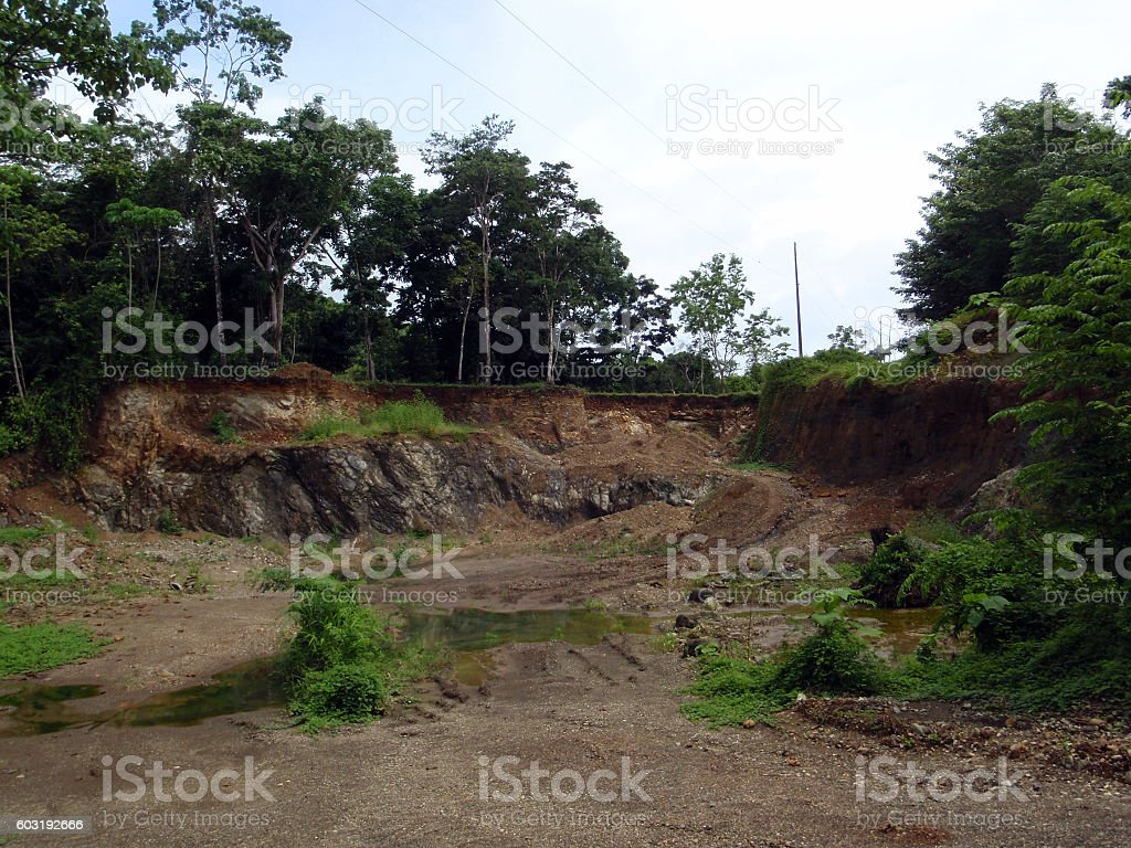 Small Abandoned rock quarry stock photo
