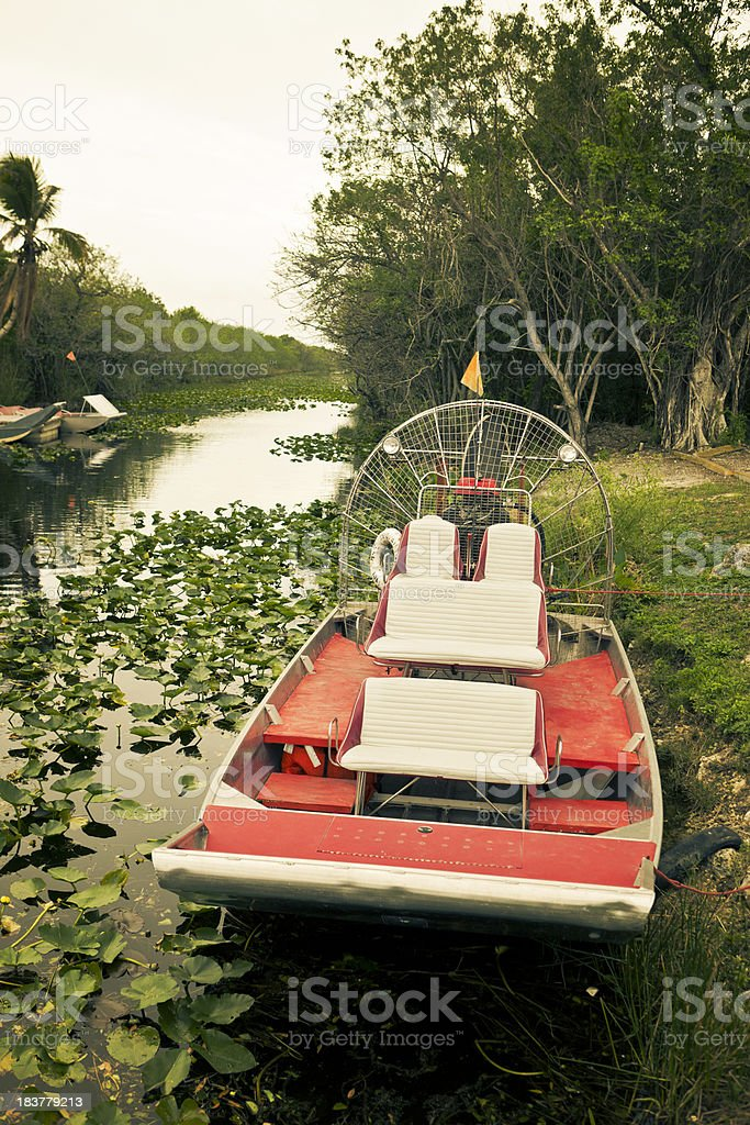 small air boat in the florida everglades stock photo