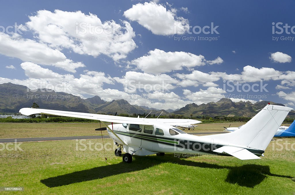 Small airplane in Winelands stock photo