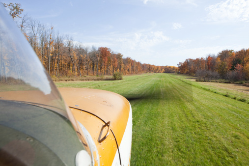 Small Airplane Landing on a Grass Strip with Fall Trees