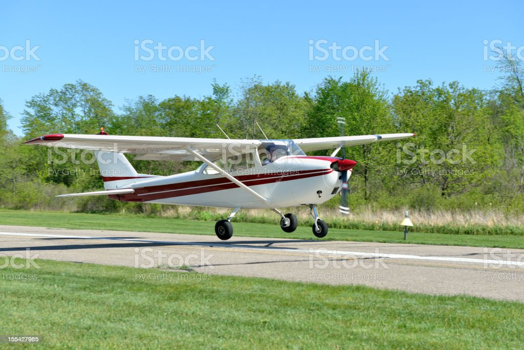 Small Airplane Landing stock photo