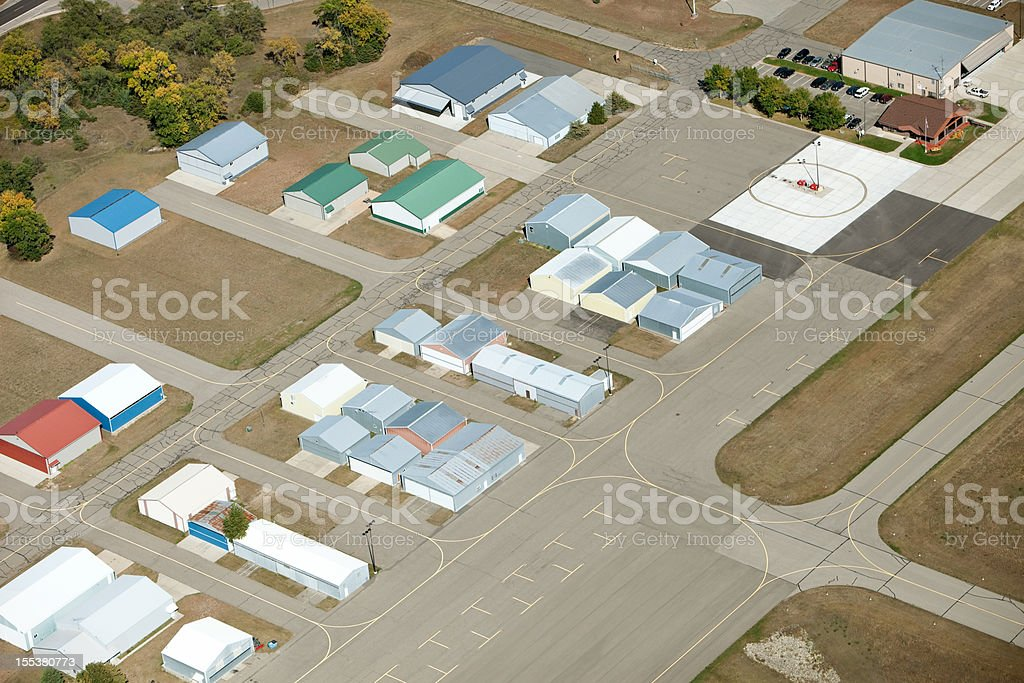Small Airport Hangers and FBO Aerial stock photo