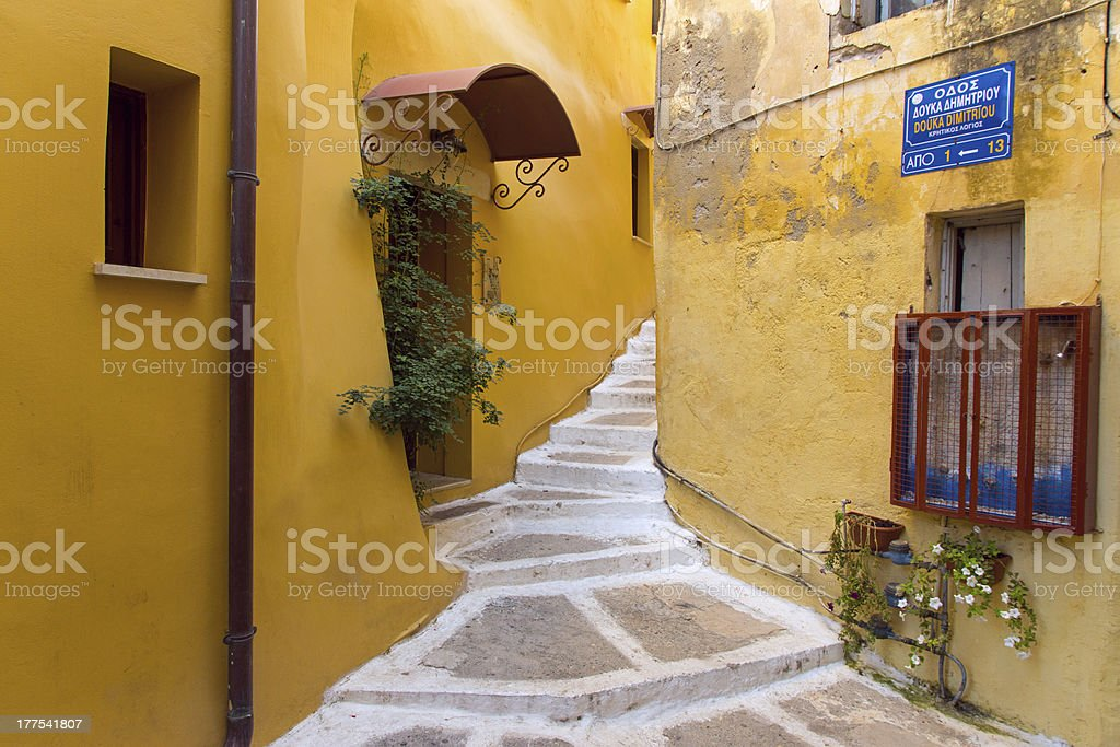 Small alley in Chania stock photo