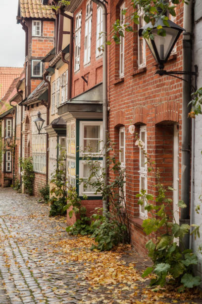 Small alley in Lüneburg in autumn Small alley in Lüneburg in autumn lüneburg stock pictures, royalty-free photos & images