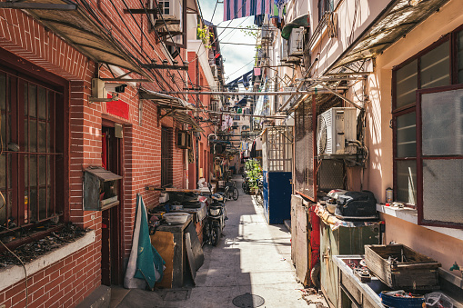 small alley in old Shanghai Quarter
