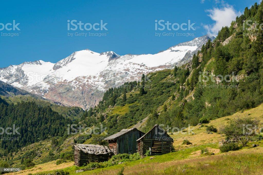 Small alpine huts in the Oetztal Alps, North Tyrol, Austria stock photo