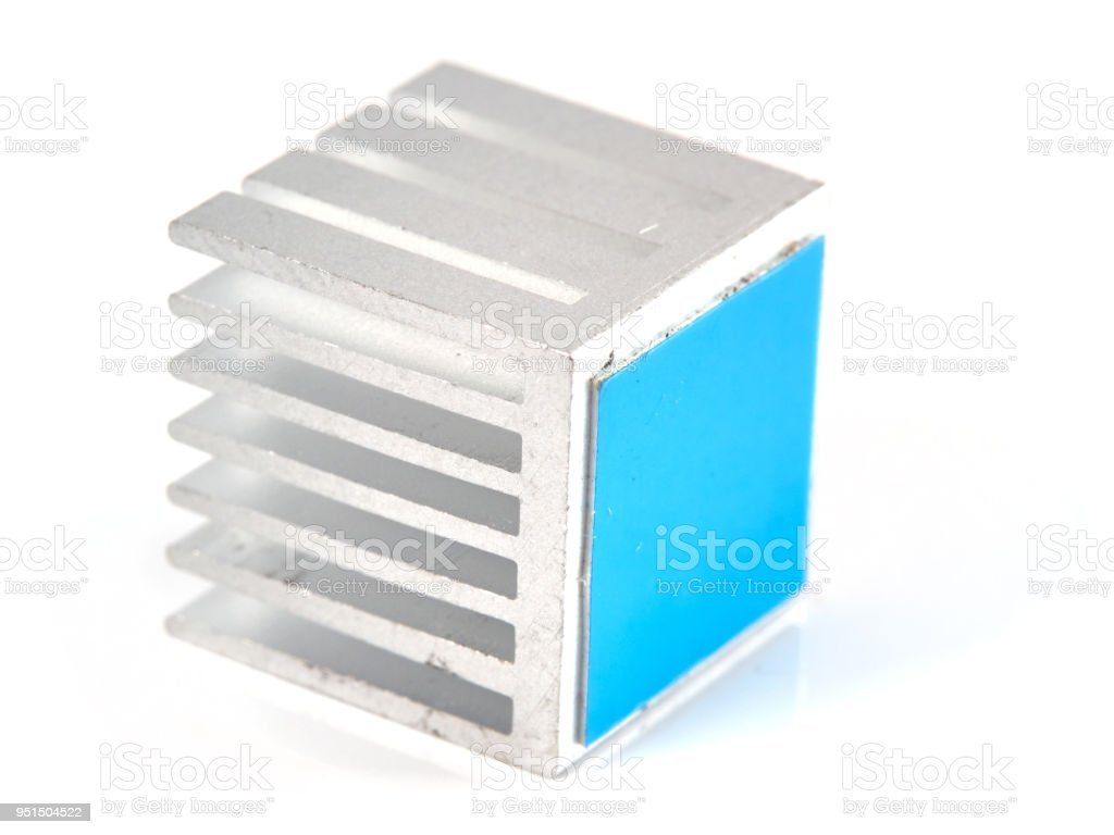 Small aluminum heat sink stock photo