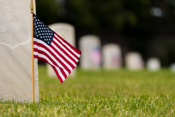 Small American flag at National cemetary - Memorial Day display stock photo