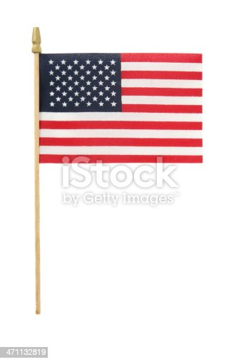 Small American flag on a stick, isolated on white