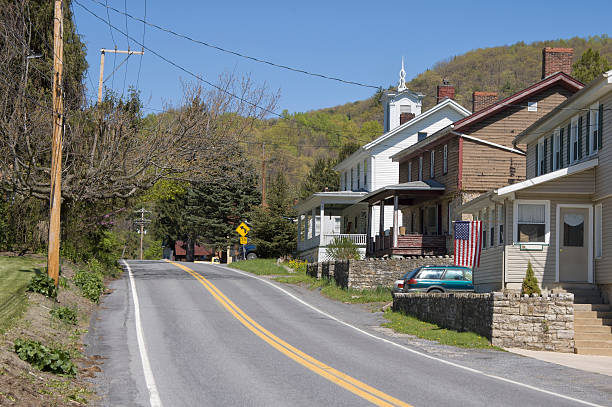 Small American Village Main Street, Appalachian Mountains in Pennsylvania stock photo
