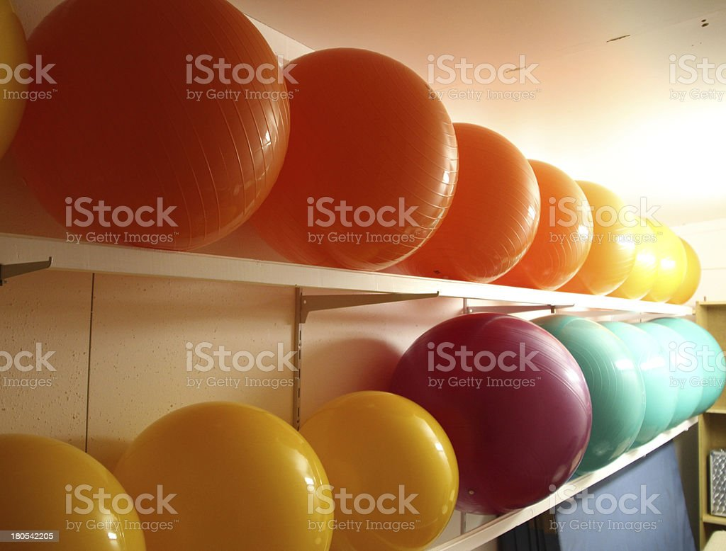 small and big colored fitness balls stock photo