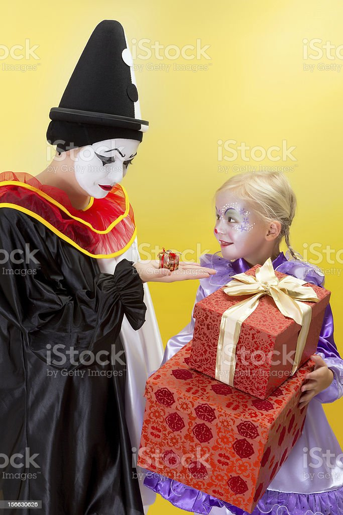 Small and big presents for clowns royalty-free stock photo